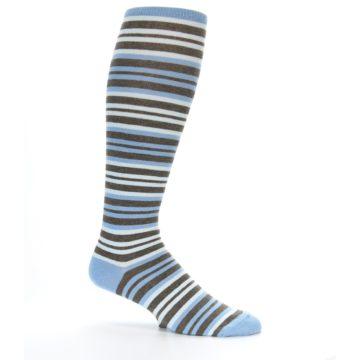 Image of Blue Brown Stripe Men's Over-the-Calf Dress Socks (side-1-25)