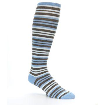 Image of Blue Brown Stripe Men's Over-the-Calf Dress Socks (side-1-26)