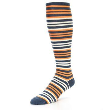 Image of Orange Stripe Men's Over-the-Calf Dress Socks (side-2-front-08)
