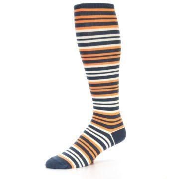 Image of Orange Stripe Men's Over-the-Calf Dress Socks (side-2-09)