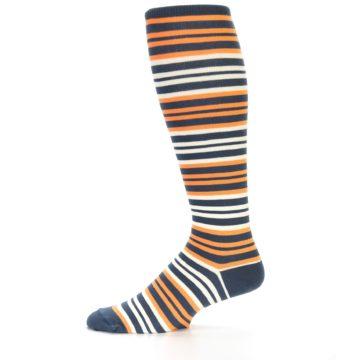 Image of Orange Stripe Men's Over-the-Calf Dress Socks (side-2-11)