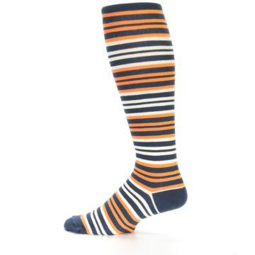 Image of Orange Stripe Men's Over-the-Calf Dress Socks (side-2-12)