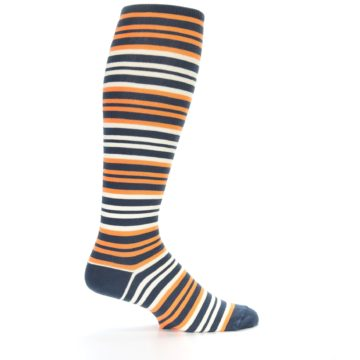 Image of Orange Stripe Men's Over-the-Calf Dress Socks (side-1-24)