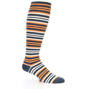 Image of Orange Stripe Men's Over-the-Calf Dress Socks (side-1-25)