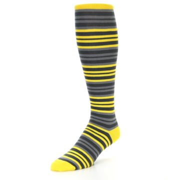Image of Yellow Grey Stripe Men's Over-the-Calf Dress Socks (side-2-front-08)
