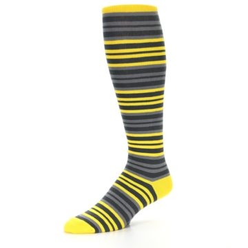 Image of Yellow Grey Stripe Men's Over-the-Calf Dress Socks (side-2-09)