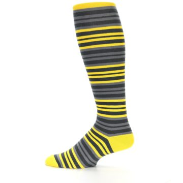 Image of Yellow Grey Stripe Men's Over-the-Calf Dress Socks (side-2-12)