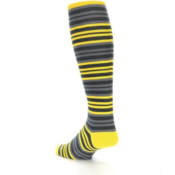 Image of Yellow Grey Stripe Men's Over-the-Calf Dress Socks (side-2-back-15)