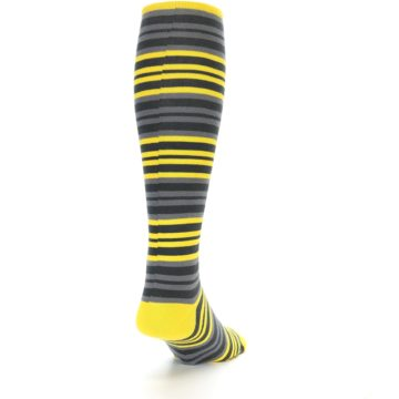 Image of Yellow Grey Stripe Men's Over-the-Calf Dress Socks (side-1-back-20)