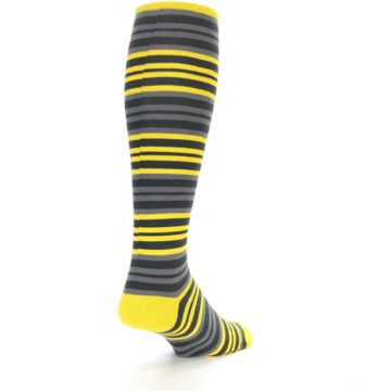Image of Yellow Grey Stripe Men's Over-the-Calf Dress Socks (side-1-back-21)