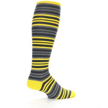 Image of Yellow Grey Stripe Men's Over-the-Calf Dress Socks (side-1-23)
