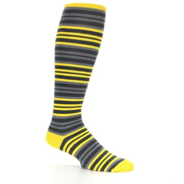 Image of Yellow Grey Stripe Men's Over-the-Calf Dress Socks (side-1-25)