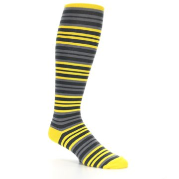 Image of Yellow Grey Stripe Men's Over-the-Calf Dress Socks (side-1-26)