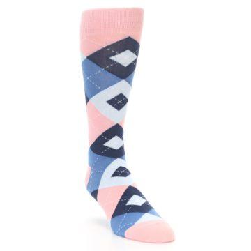 Image of Pink Blue Argyle Wedding Groomsmen Men's Dress Socks (side-1-front-02)