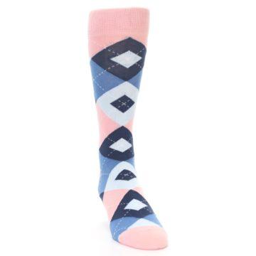 Image of Pink Blue Argyle Wedding Groomsmen Men's Dress Socks (side-1-front-03)