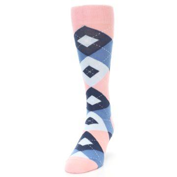 Image of Pink Blue Argyle Wedding Groomsmen Men's Dress Socks (side-2-front-06)