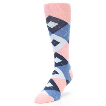 Image of Pink Blue Argyle Wedding Groomsmen Men's Dress Socks (side-2-front-07)