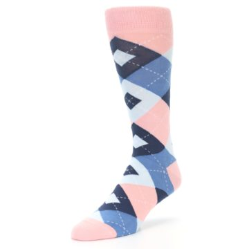 Image of Pink Blue Argyle Wedding Groomsmen Men's Dress Socks (side-2-front-08)