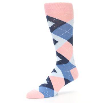 Image of Pink Blue Argyle Wedding Groomsmen Men's Dress Socks (side-2-09)
