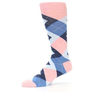 Image of Pink Blue Argyle Wedding Groomsmen Men's Dress Socks (side-2-10)