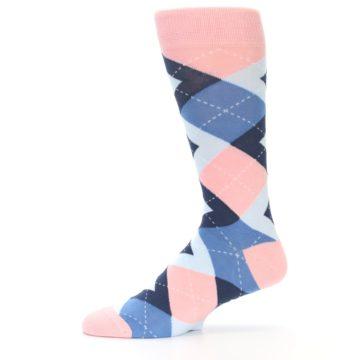 Image of Pink Blue Argyle Wedding Groomsmen Men's Dress Socks (side-2-11)