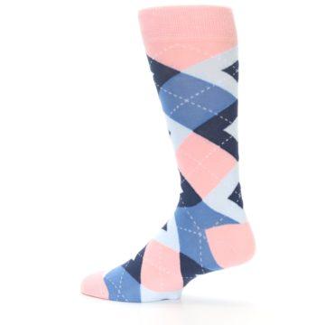 Image of Pink Blue Argyle Wedding Groomsmen Men's Dress Socks (side-2-13)