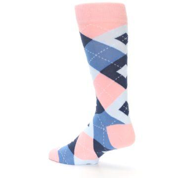 Image of Pink Blue Argyle Wedding Groomsmen Men's Dress Socks (side-2-back-14)