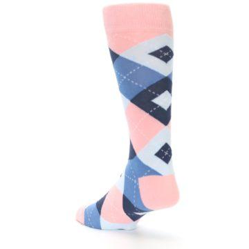 Image of Pink Blue Argyle Wedding Groomsmen Men's Dress Socks (side-2-back-15)