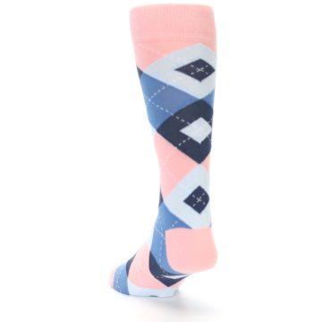 Image of Pink Blue Argyle Wedding Groomsmen Men's Dress Socks (side-2-back-16)