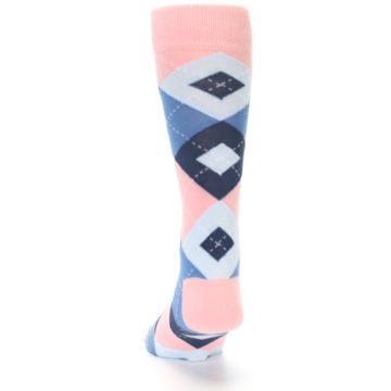 Image of Pink Blue Argyle Wedding Groomsmen Men's Dress Socks (back-17)