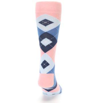 Image of Pink Blue Argyle Wedding Groomsmen Men's Dress Socks (back-19)