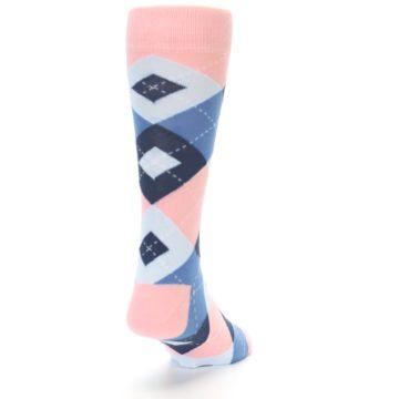 Image of Pink Blue Argyle Wedding Groomsmen Men's Dress Socks (side-1-back-20)