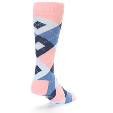Image of Pink Blue Argyle Wedding Groomsmen Men's Dress Socks (side-1-back-21)