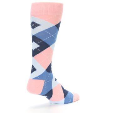 Image of Pink Blue Argyle Wedding Groomsmen Men's Dress Socks (side-1-back-22)