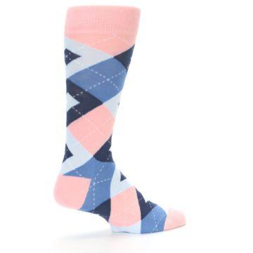 Image of Pink Blue Argyle Wedding Groomsmen Men's Dress Socks (side-1-23)