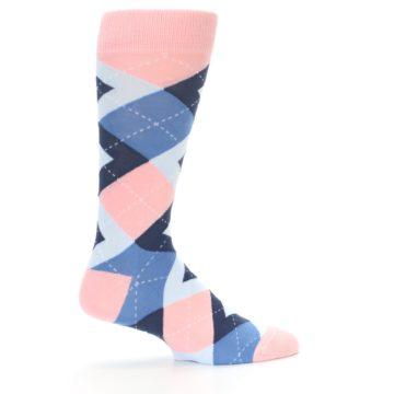 Image of Pink Blue Argyle Wedding Groomsmen Men's Dress Socks (side-1-24)