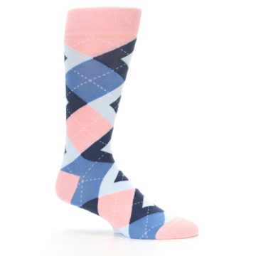 Image of Pink Blue Argyle Wedding Groomsmen Men's Dress Socks (side-1-25)