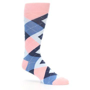 Image of Pink Blue Argyle Wedding Groomsmen Men's Dress Socks (side-1-26)
