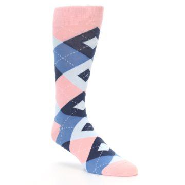 Image of Pink Blue Argyle Wedding Groomsmen Men's Dress Socks (side-1-27)