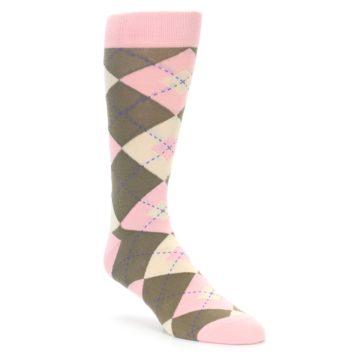 Pink Brown Argyle Wedding Socks
