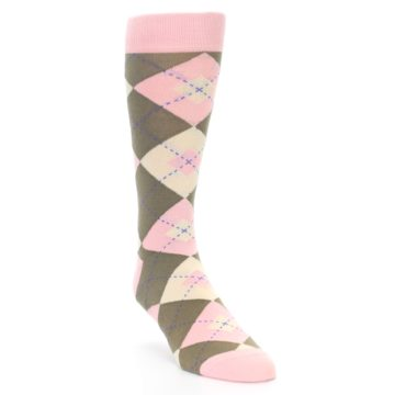 Image of Pink Brown Tan Argyle Wedding Groomsmen Men's Dress Socks (side-1-front-02)