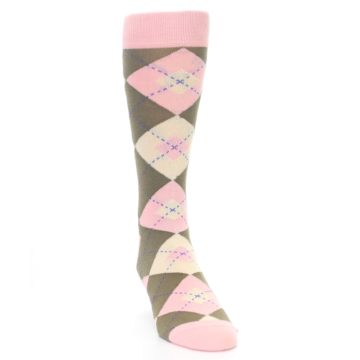 Image of Pink Brown Tan Argyle Wedding Groomsmen Men's Dress Socks (side-1-front-03)