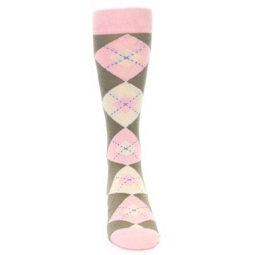 Image of Pink Brown Tan Argyle Wedding Groomsmen Men's Dress Socks (front-04)