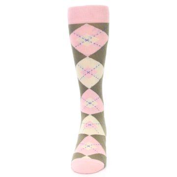 Image of Pink Brown Tan Argyle Wedding Groomsmen Men's Dress Socks (front-05)