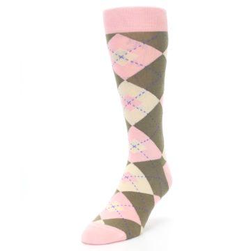 Image of Pink Brown Tan Argyle Wedding Groomsmen Men's Dress Socks (side-2-front-07)