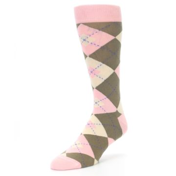 Image of Pink Brown Tan Argyle Wedding Groomsmen Men's Dress Socks (side-2-front-08)