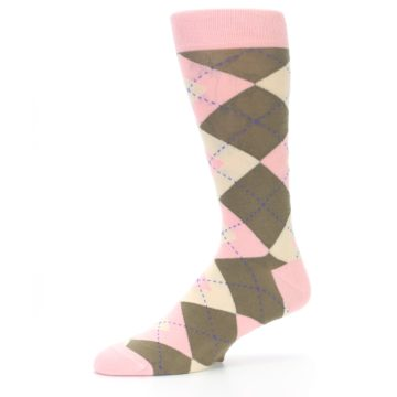 Image of Pink Brown Tan Argyle Wedding Groomsmen Men's Dress Socks (side-2-10)