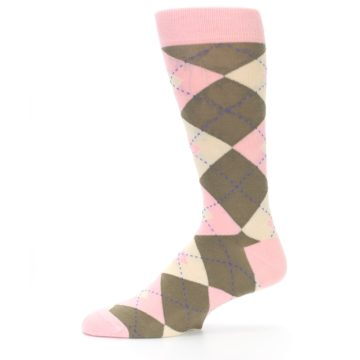 Image of Pink Brown Tan Argyle Wedding Groomsmen Men's Dress Socks (side-2-11)