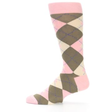 Image of Pink Brown Tan Argyle Wedding Groomsmen Men's Dress Socks (side-2-12)