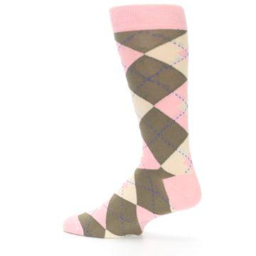 Image of Pink Brown Tan Argyle Wedding Groomsmen Men's Dress Socks (side-2-13)